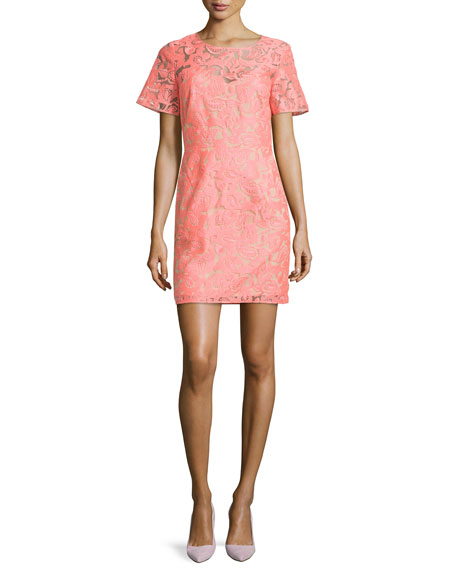 Veronica Beard Floral Embroidered Lace Shift Dress, Neon