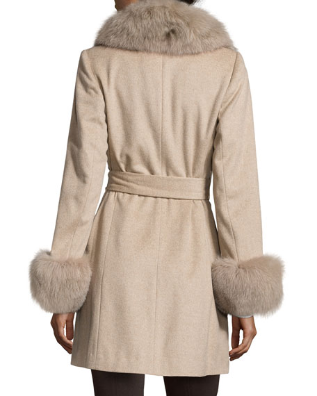 Belle Fare Fur-Trim Cashmere Wrap Coat, Oatmeal