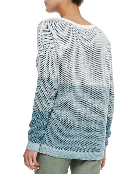 Stitch Knitted Sweater Together : Vince Ombre Open-Stitch Knit Sweater