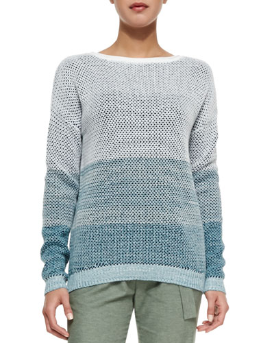 Ombre Open-Stitch Knit Sweater
