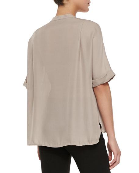 Contrast-Trim Half-Sleeve Blouse