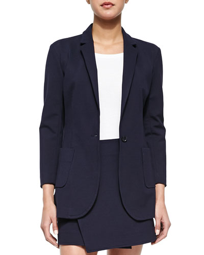 Single-Button Woven Boyfriend Blazer