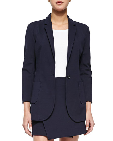 ATM Single-Button Woven Boyfriend Blazer