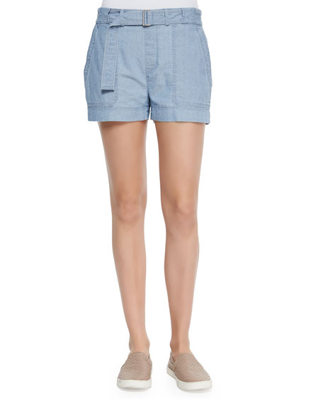 Belted Relaxed Chambray Shorts