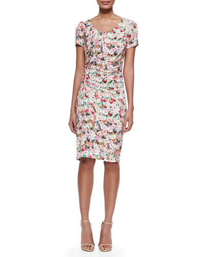 Scoop-Neck Floral-Print Sheath Dress