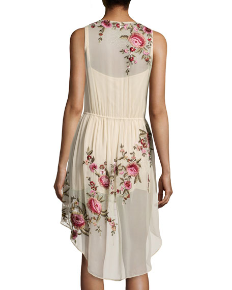 Haute Hippie Floral-Embroidered High-Low Silk Dress