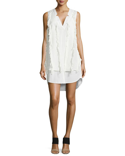 V-Neck Poplin Shirtdress with Fringe
