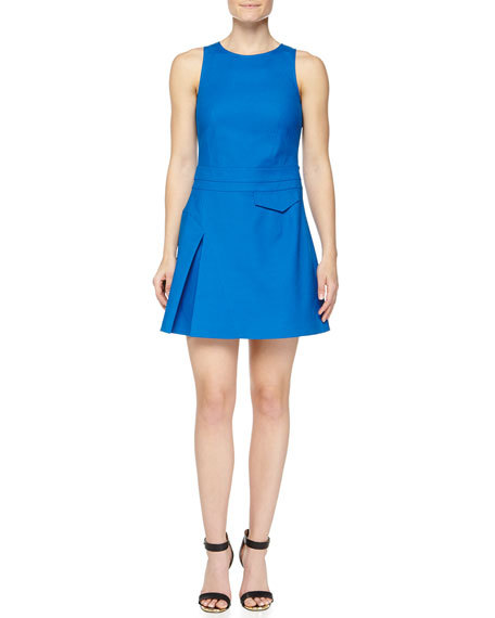 Derek Lam 10 Crosby Side-Pleat Sleeveless Twill Dress