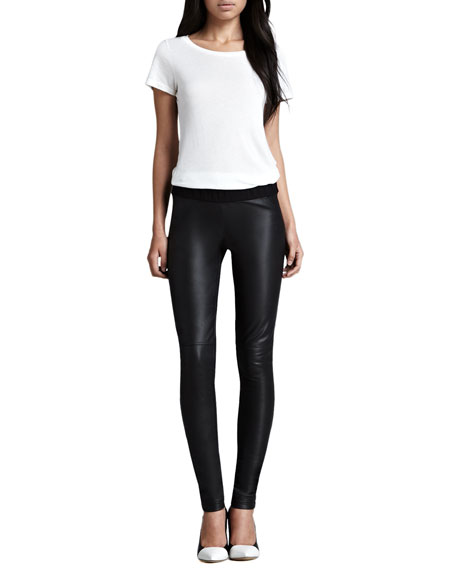 Leather-Front Ponte Leggings