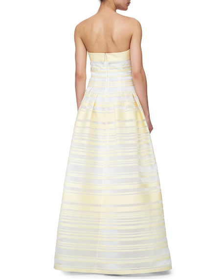 Sheer & Solid Striped Ball Gown