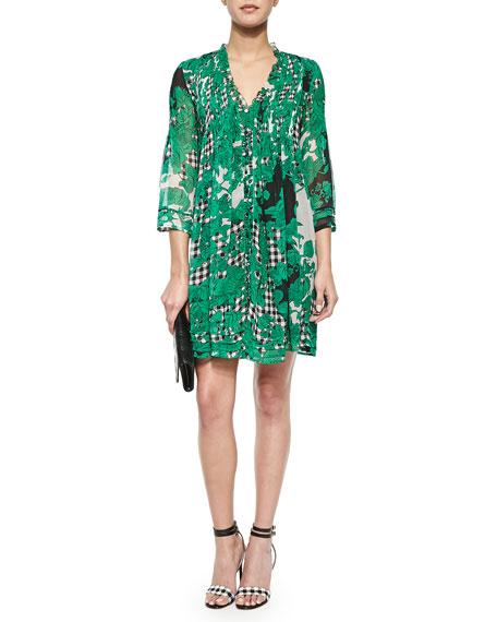 Diane von Furstenberg Printed Pleated Silk Dress