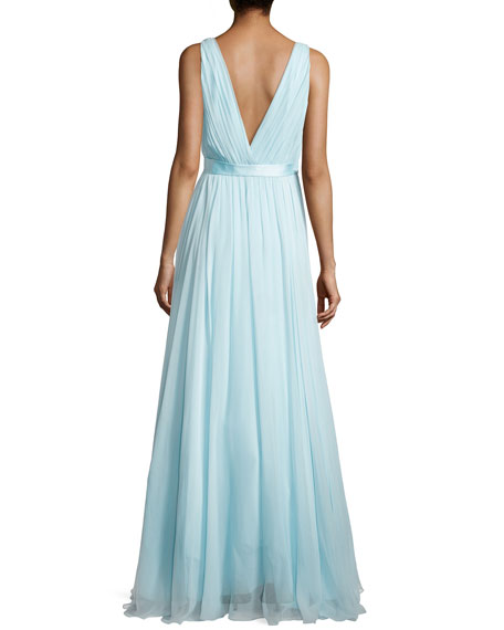 Chiffon Gown with Deep V Neckline