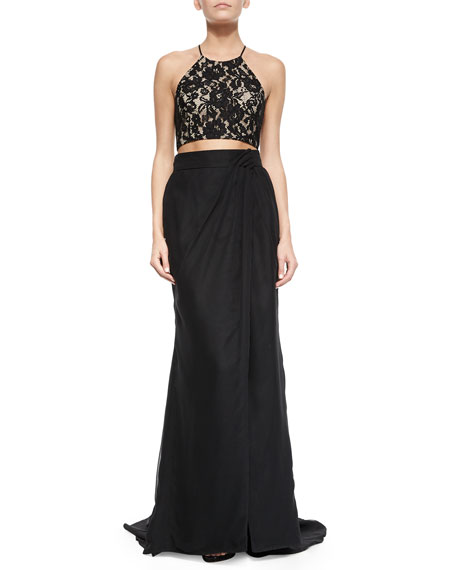 Aidan by Aidan Mattox Lace Halter Crop Top and Maxi Skirt Set