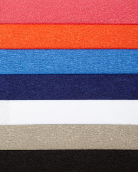 Majestic Paris for Neiman Marcus Short-Sleeve V-Neck Linen Top