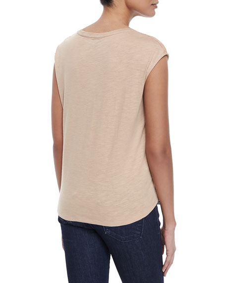 Majestic Paris for Neiman Marcus Suede-Cotton Combo Top