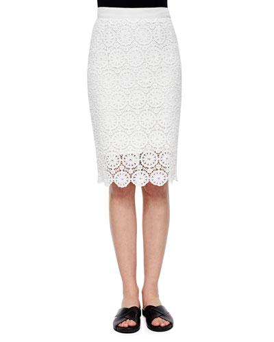Scarlett Floral-Lace Pencil Skirt