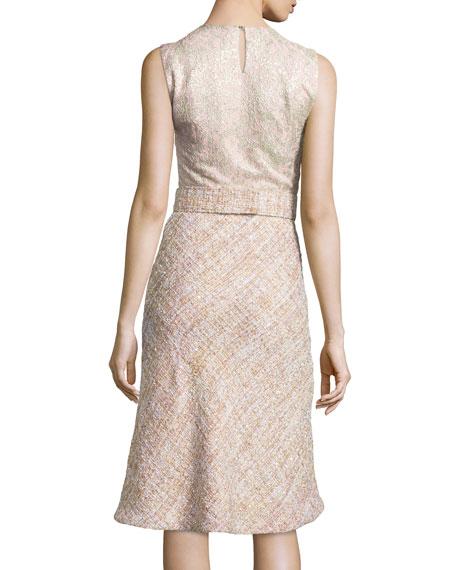 Mixed-Tweed Bow-Waist Dress