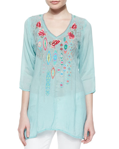Paloma Embroidered V-Neck Blouse