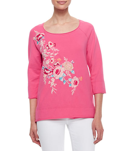 Sawyer Embroidered 3/4-Sleeve Sweatshirt