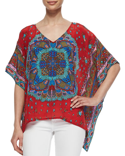 Briyanna Asymmetric Printed Tunic, Red