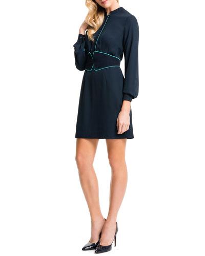 Long-Sleeve Shirtdress W/ Cummerbund
