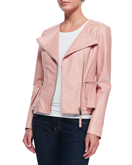 NM EXCLUSIVE Leather Peplum Jacket, Light Pink