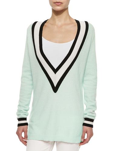 Striped Cashmere V-Neck Varsity Sweater