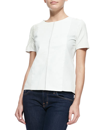 Short-Sleeve Perforated Leather Tee