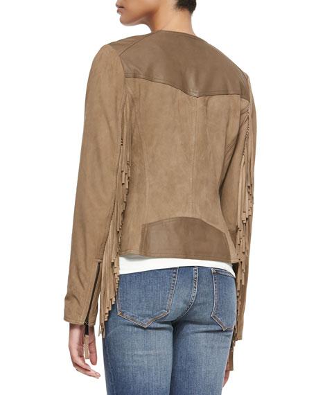 Suede Fringe Zip Jacket