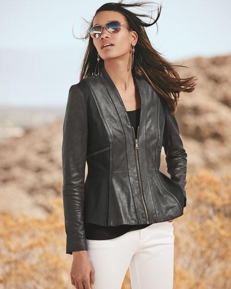 Lambskin Leather & Ponte Peplum Jacket