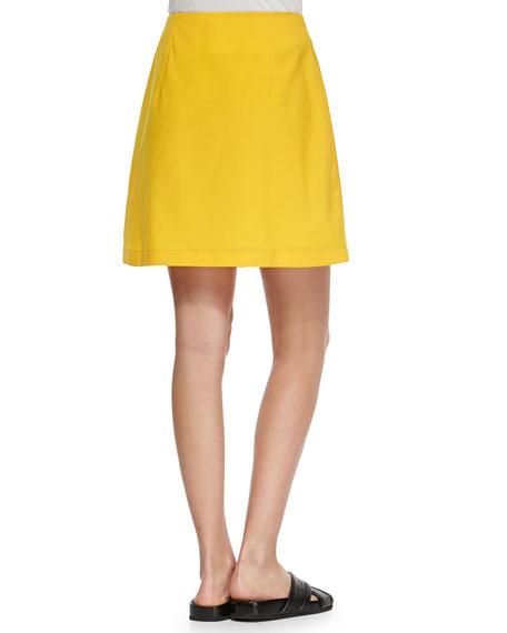 Risto Liquid Wool Front-Zip Skirt