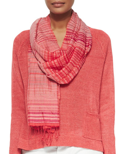 Striped Gauze Scarf