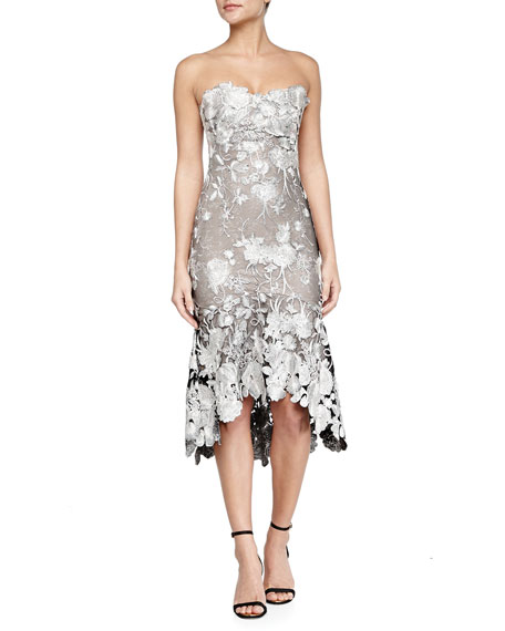 Strapless High-Low Lace Cocktail Dress