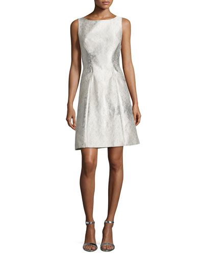 Sleeveless Jacquard A-line Cocktail Dress