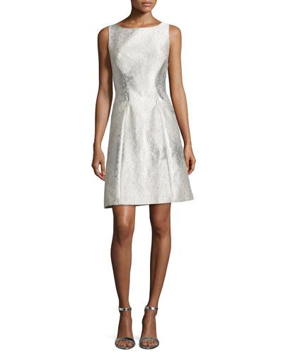 Sleeveless Jacquard A-line Cocktail Dress