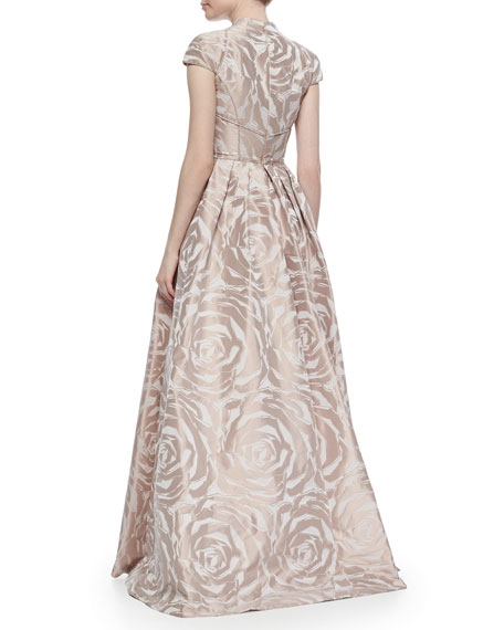 Cap-Sleeve Floral Jacquard Ball Gown