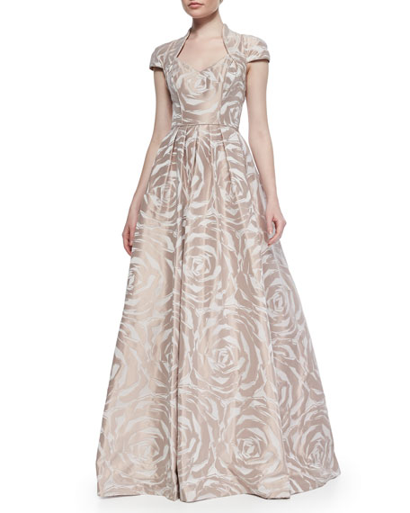Theia Cap-Sleeve Floral Jacquard Ball Gown