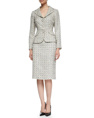 Tweed Jacket & Pencil Skirt Suit, Beige