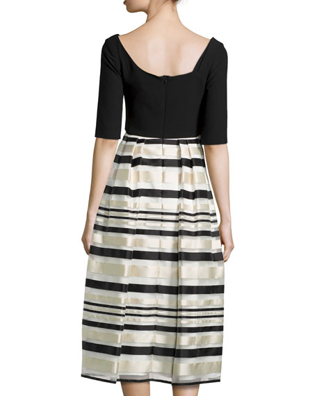 Hayley Striped Combo Cocktail Dress