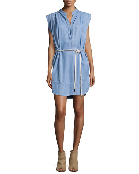 L'Agence Sleeveless Twill Chambray Shirt Dress, Washed Indigo