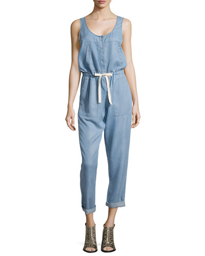 Sleeveless Chambray Jumpsuit