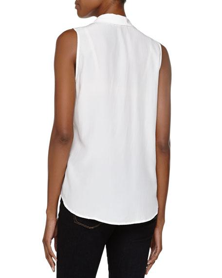 Adalyn Sleeveless Linen Blouse, White