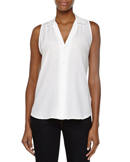 Equipment Adalyn Sleeveless Linen Blouse, White