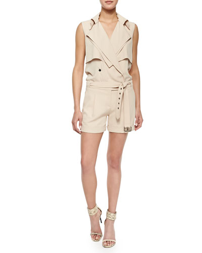 Belted Knit Trench Safari Romper