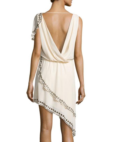 Grommet/Nailhead-Trim Asymmetric Dress