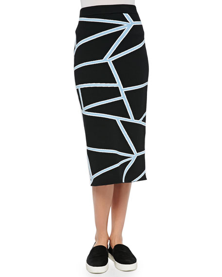 Jonathan Simkhai Intarsia Knit Geometric-Print Pencil Skirt, Black/Blue
