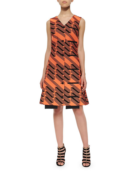 Opening Ceremony Ribbon Jacquard Welt-Pocket Dress, Tangier/Multi