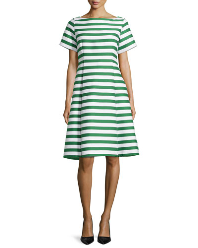 short-sleeve striped fit & flare dress