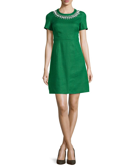 kate spade new york embellished linen short-sleeve dress