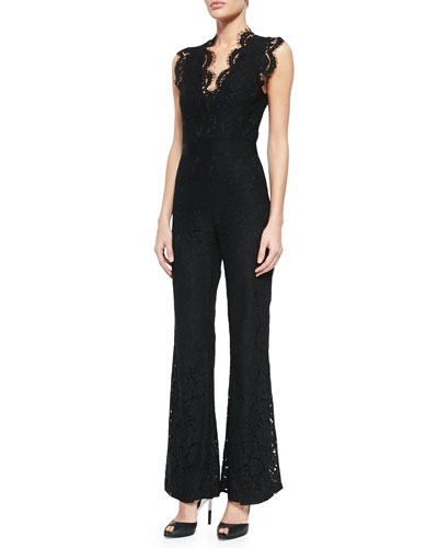 Reesa Scalloped Lace Jumpsuit, Black